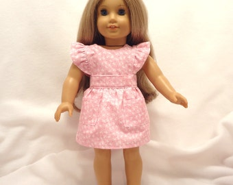 Pink and white sundress and bloomers for 18 inch dolls.