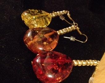 Earring, dangle, amber, yellow, autumn, red, honey, fall, gold, simple, statement, beautiful, easy, fun, womens gift- Amber Romance