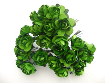 Green Mulberry Paper Roses Flowers - 3 Bunches