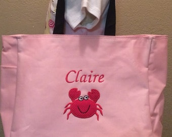Personalized Baby Kids Summer Crab Appliqué Tote Toy Diaper Bag