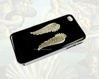 Angel Wings Iphone Case Antique Sterling Silver Embellished on Hand Painted Glossy Black Enamel Metal Phone Case Custom Colors Available