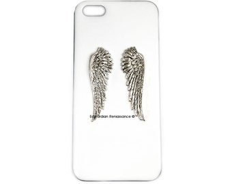 Angel WIngs Iphone Case Inlaid in Hand Painted Enamel Renaissance Romance Inspired Titanium Cover Custom Colors and Personalized Options