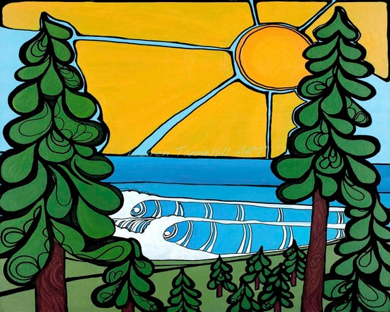 8x10 Giclee Print Cold Water Surf Session with Pine Trees Surf Art by Lauren Tannehill ART