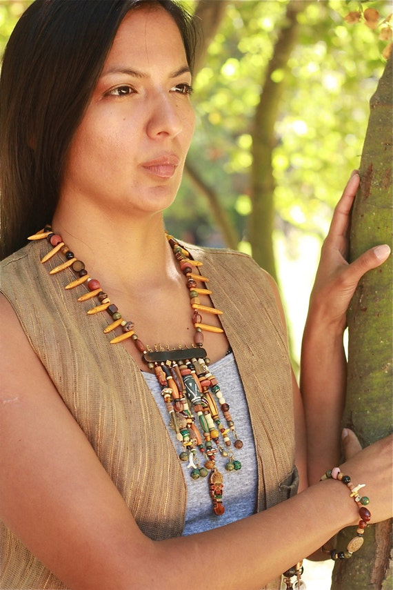 TRIBAL CALLING Handcrafted Beaded Cascading Tribal Statement Necklace