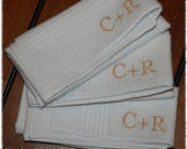 U + Me = Love, Monogram Set of 3 Monogrammed 100% Cotton Handkerchiefs for Every Day or Special Occasion