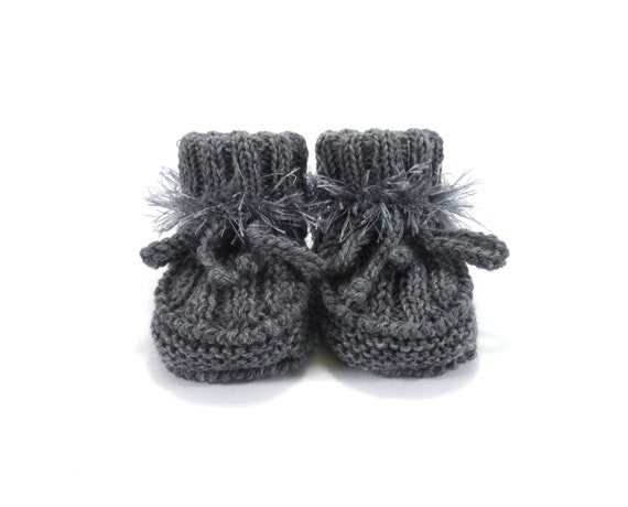 Hand Knitted Baby Booties - Gray, 0 - 3 months