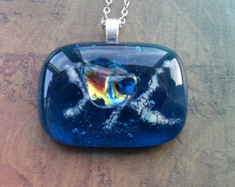 Gorgeous Turquoise and Iridescent Rainbow FUSED glass / DICHROIC glass pendant necklace / Hand Crafted / One of a kind / Blue Glass Pendant