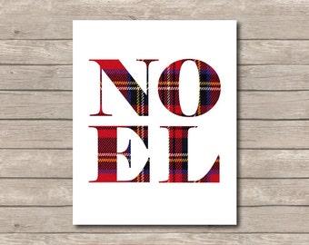 Plaid NOEL Christmas Printable, Christmas Art Print, Red Plaid Noel Art