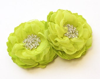 Lime Green Hair Comb - Chiffon and Satin Flowers - Brooch, Hair, Shoe Clips for a Bride, Bridesmaid, Special Event, Bridal Shower Gift - Ana