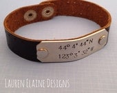 Custom Hand Stamped Leather Latitude Longitude Bracelets- Add your Own Coordinates (Pick the Font, and Color)