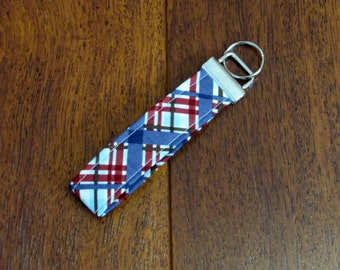 Sale Fabric Key Fob Keychain--Riley Blake Navy, Blue and Burgundy Plaid