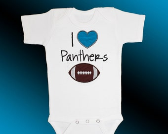 Baby Bodysuit Jersey Shirt - I Love Panthers Football Applique - Embroidered Short or Long Sleeved - Free Shipping