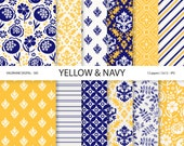 Blue Digital Paper, Yellow digital paper, Scrapbook paper, Floral paper, Damask digital paper,  navy blue paper, Digital backgrounds -  585