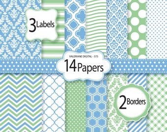 Blue and green Digital Paper and clipart pack, damask digital paper, polka dots wave chevron patterns - Pack 575