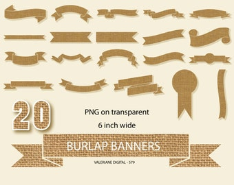 Burlap banner clipart, Burlap ribbon clipart, Burlap paper banner, Digital Clip Art scrapbook- INSTANT DOWNLOAD Pack 579