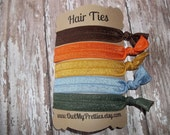 FOE Elastic Hair Ties FALL COLORS Pumpkin-Gold-Army Green-Blue-Brown Collection Toddlers Girls Women -Set of 5-