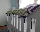 REVERSIBLE Crib Teething Rail Padded Cover -Lime and Navy Chevron- Made in fabric of your choice