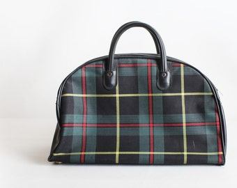 Vintage Blue Plaid Carry On Bag