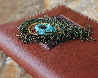peacock feather bead embroidered leather journal sketchbook