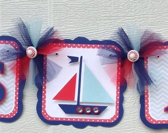 Sailboat banner, sail away banner, sailboat baby shower, it's a boy banner, baby shower banner, baby shower decor, blue and red decorations,