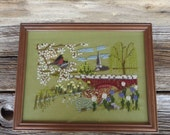 Framed Needlepoint Embroidery Spring Country Village Scene Cottage Chic Farmhouse Decor Needlework in Frame
