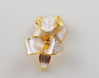 Vintage Silver and Gold Tone Orchid Brooch