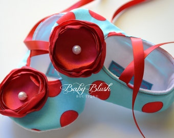 Aqua Red Polka Dot Soft Ballerina Slippers Baby Booties w/ Red Flowers and Ribbon Ties