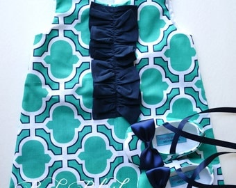 Teal Navy Ruffles Retro A-line Dress Shoes Set Infant Outfit Baby Shoes