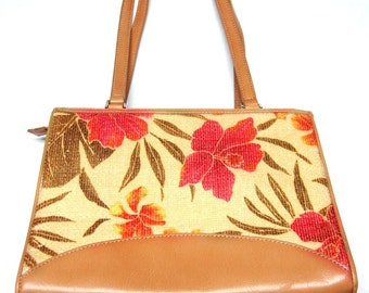 Brown Coral Tan Pink Purse Handbag Firmside Hardside Hibiscus Flower