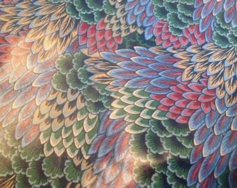 Drapery fabric in jewel tones, peacock style design
