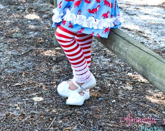 red and white striped ruffle leggings girls pants