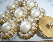 """Shabby Wedding Chic Buttons Faux Pearl & Gold Plastic shank buttons 1"""" 40L 25mm rustic18 pieces sewing bridal bag bouquet"""