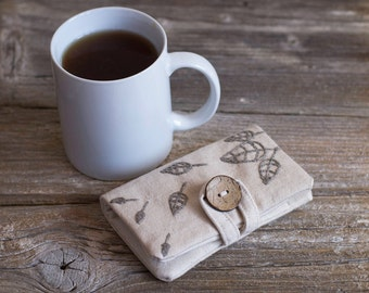 Natural White Cotton Tea Wallet with Hand Embroidered Leaves in Natural Grey Linen, Nature Inspired Tea Holder, Gift for Tea Lover