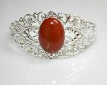 Red Jasper Stone Bracelet - Silverplated Filigree Bangle - Victorian Style - Dark Red Oval Cabochon - Medallion - Unique Gift