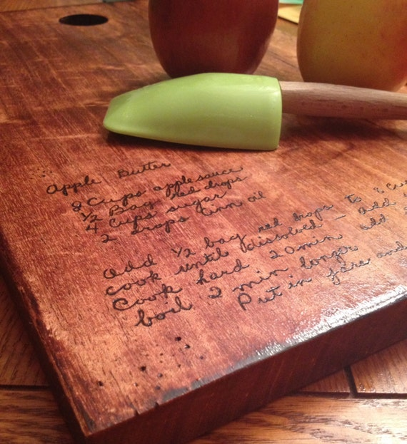 Handwritten recipe cutting board create your own design hand for Make your own chopping board