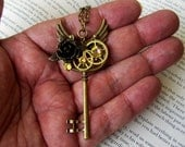 SALE-Steampunk Winged Key Pendant (N404) - Necklace - Brass Skeleton Key - Wings - Rose and Gears - Swarovski Crystals