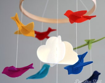 100% Merino Wool Felt Baby Mobile - Eco-Friendly - Rich, Lightfast Colors - Heirloom Quality - Rainbow Birds Modern Mobile