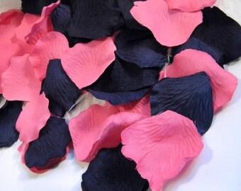 500 Rose Petals Bulk, Artificial, Navy Blue & Fuchsia Hot Pink Wedding Decoration, Aisle Petals, Flower Basket Petals, Petal Toss