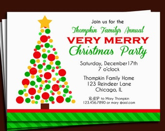 Christmas Party Invitation Printable - Personlized for Your Event - Very Merry Christmas Collection