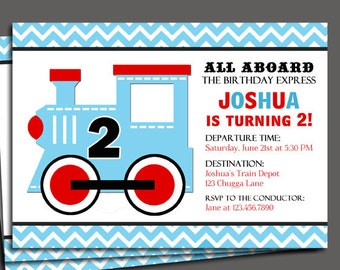 Train Invitation Printable or Printed with FREE SHIPPING - Blue Chevron - All Aboard Collection