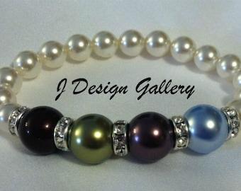 Mothers Birthstone Bracelet Swarovski Pearls Mothers/Grandmothers