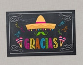 """Fiesta Thank You Card, """"Gracias"""", Pink, Printable Thank You Card, Instant Download"""