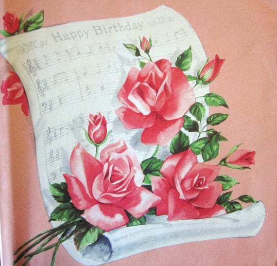 Vintage Wrapping Paper - Birthday Song with Roses - Full Sheet Gift Wrap