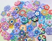 RESERVED CUSTOM LISTING thick cut 100 random flower slices Polymer clay cane decoden pieces nail art supplies miniature