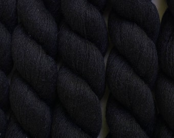 Blackberry Silk Cashmere Lace Weight Recycled Yarn, 483 Yards Available in 1 Skein, Black Silk Cashmere Yarn