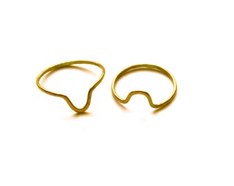 Peaks + Valleys - Brass Stacking Rings Inspired by Geography