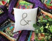 """Ampersand Custom Embroidered Pillow Cover 12"""" Pillow Personalized Pillow Sham Custom Embroidery Birthday Gift"""