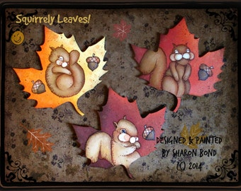 E PATTERN - Squirrely Leaves - Cute little squirrels on multicolored leaves for Fall! Designed & Painted by Sharon Bond - FAAP
