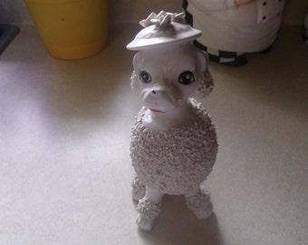 vintage porcelain white poodle dog figurine japan spaghetti