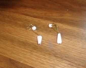 vintage clip on earrings white lucite dangles